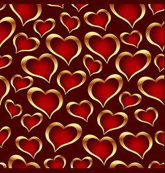 golden hearts background vector image vector image