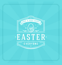 happy easter greeting card design text template vector image