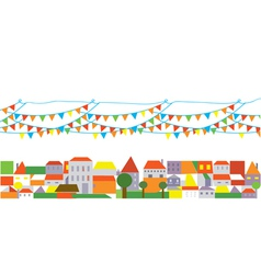 Holidays city with banner of flags vector image