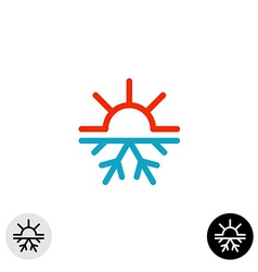 Hot and cold symbol Sun and snowflake all season vector image vector image