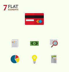 icon flat gain set of search calculator paper vector image