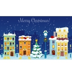Merry Christmas Cityscape with Snowfall Houses vector image vector image