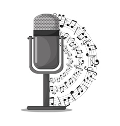 Microphone and music notes design vector