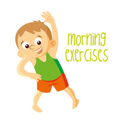 Morning exercises boy vector