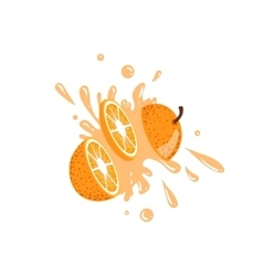 Orange cut in the air splashing the juice vector