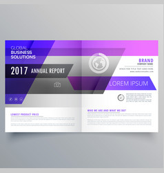 Purple geometric bifold brochure design template vector