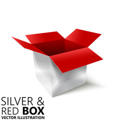 Red and silver open box 3d design vector