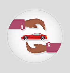 Red modern fast sports car in two carefull hands vector