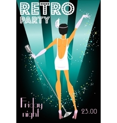 Retro party invitation design with sample text vector
