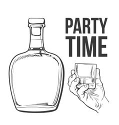 rum bottle and hand holding full shot glass vector image
