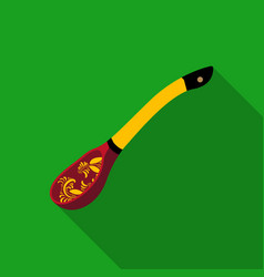 Russian traditional wooden spoon icon in flat vector