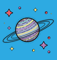 Saturn planet in the space galaxy creation vector