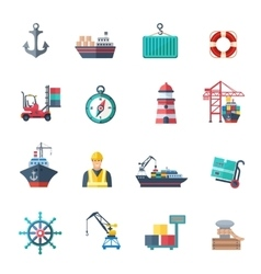 Sea port icons set vector