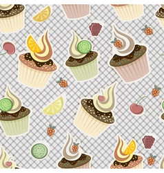 seamless pattern cupcakes vector image
