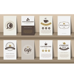 Set of coffee brochures in vintage style vector
