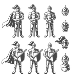 Set of monochrome knights vector