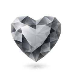 Shiny isolated diamond heart shape on white vector