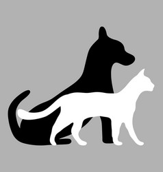 Silhouettes of a cat and a dog vector