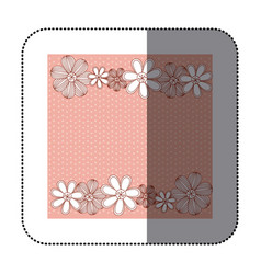 sticker color pattern dotted with row flowers vector image