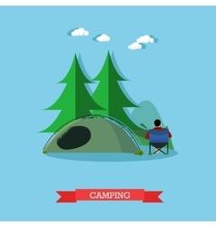 Summer recreation concept banner in flat vector