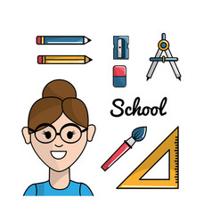 Teacher with school tools to learnd vector