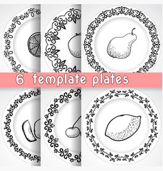 Template plates pattern with fruit vector