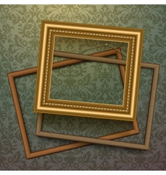 Vintage golden frames on floral background vector image vector image