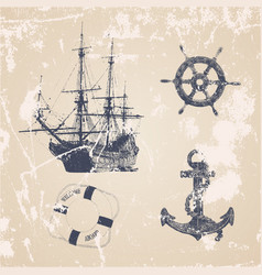 Vintage hand drawn ocean set vector