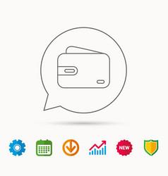 Wallet icon cash money bag sign vector