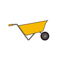 wheelbarrow flat icon colorful silhouette vector image