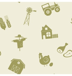 Seamless pattern with farm icons vector image