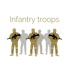 Infantry troops soldiers with weapon vector