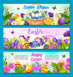 Easter egg with flower greeting banner template vector