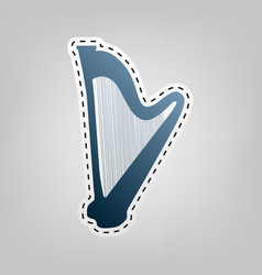 Musical instrument harp sign blue icon vector