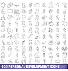 100 personal development icons set outline style vector