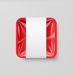 Empty red plastic food square container with vector