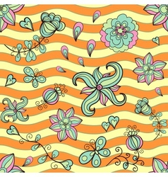 Doodle stylized flowers vector image