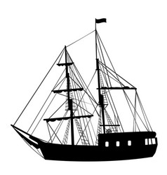 Silhouette of sailing ship on white background vector
