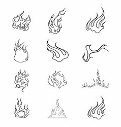 Fire elements outline set vector