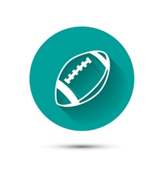 Rugby ball icon on green background with shadow vector image