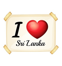 I love Sri Lanka vector image