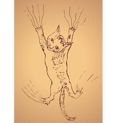 Kitten Scratching Sketch2 vector image