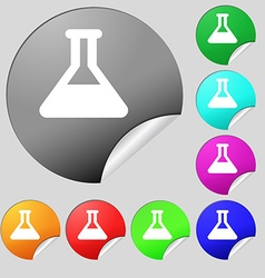 Conical flask icon sign set of eight multi-colored vector