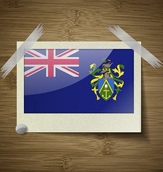 Flags pitcairn islands at frame on wooden texture vector
