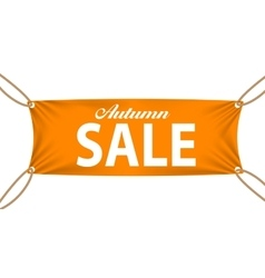 Textile banners with autumn sale text suspended by vector