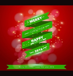 Greeting card merry ribbon banner design vector