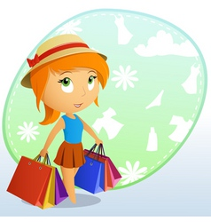 Cute girl shopping vector