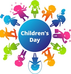Children's Day Cartoon Silhouette Icon vector image