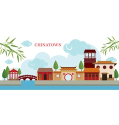 Chinatown building and park vector