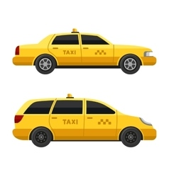 Yellow taxi cars set on white background vector